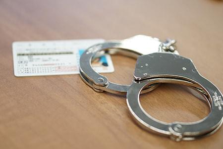 免許証と手錠