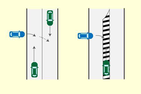 道路外に出るため右折する車とゼブラゾーン走行車両の事故の画像