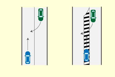 道路外から道路に進入するため右折する車とゼブラゾーン走行車両の事故の画像