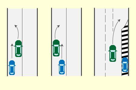 進路変更車と後続直進車との事故の画像