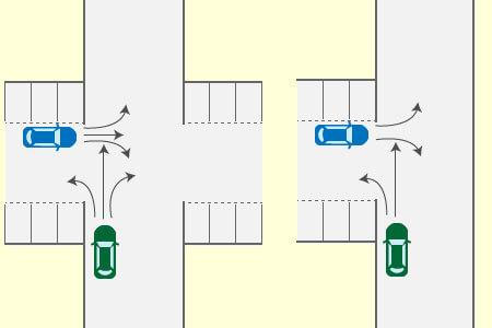 直進又は右左折のための進入車と直進又は右左折のための交差通路からの進入車の事故の画像