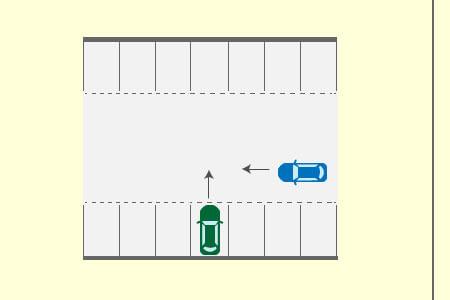 通路を進行する自動車と駐車区画から通路に進入しようとする自動車との出合い頭衝突事故