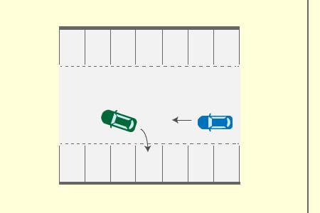 通路を進行する自動車と通路から駐車区画に進入しようとする自動車との事故