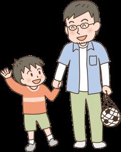 子供と遊ぶお父さんのイメージイラスト