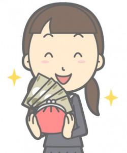 お金を手にする女性のイラスト