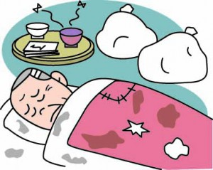 寝込む男性のイメージイラスト