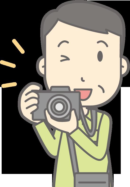 写真を撮る男性のイラスト